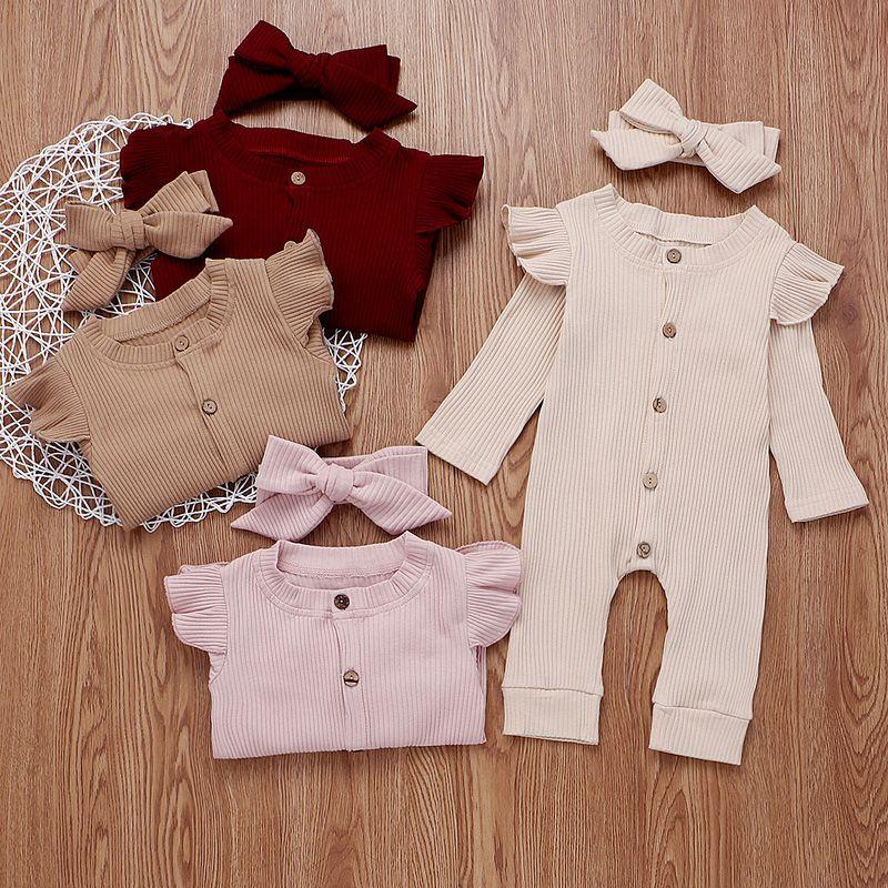 Bébé fille barboteuses Solid 4 design manches longues en coton Bouton simple Ruffle Jumpsuit Enfants Bodies Filles Tenues 0-3T 04