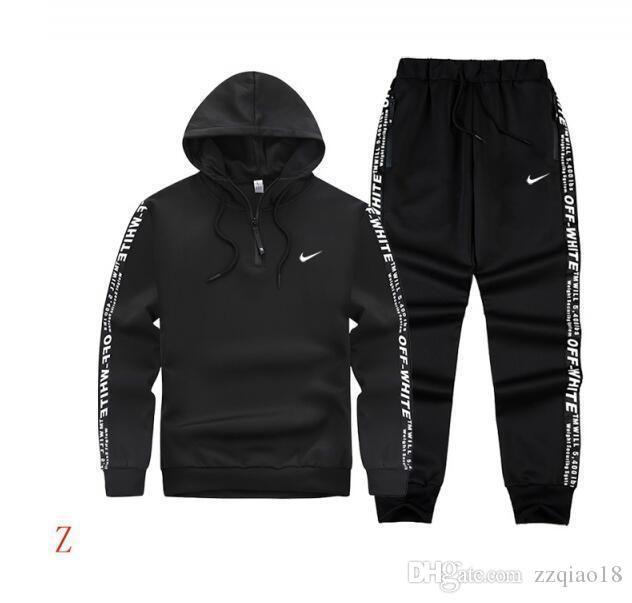 2019 Homens Sportswear Hoodie E Suit capuz Primavera Outono Jogger Sporting Mens sweatsuits Fatos Set Plus Size M-4XL