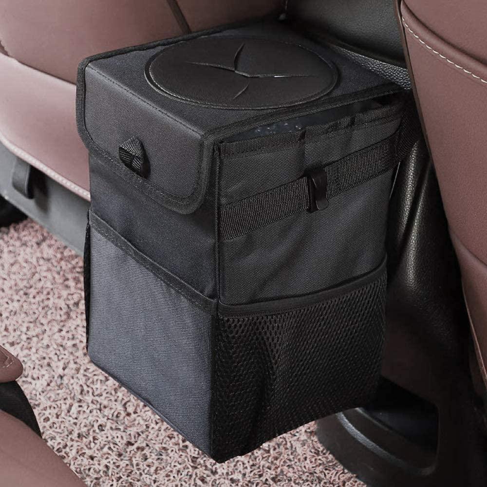 سيارة القمامة القمامة حقيبة يمكن - المهملات السيارة يمكن مع غطاء والتخزين جيوب مقاومة للتسرب الفينيل