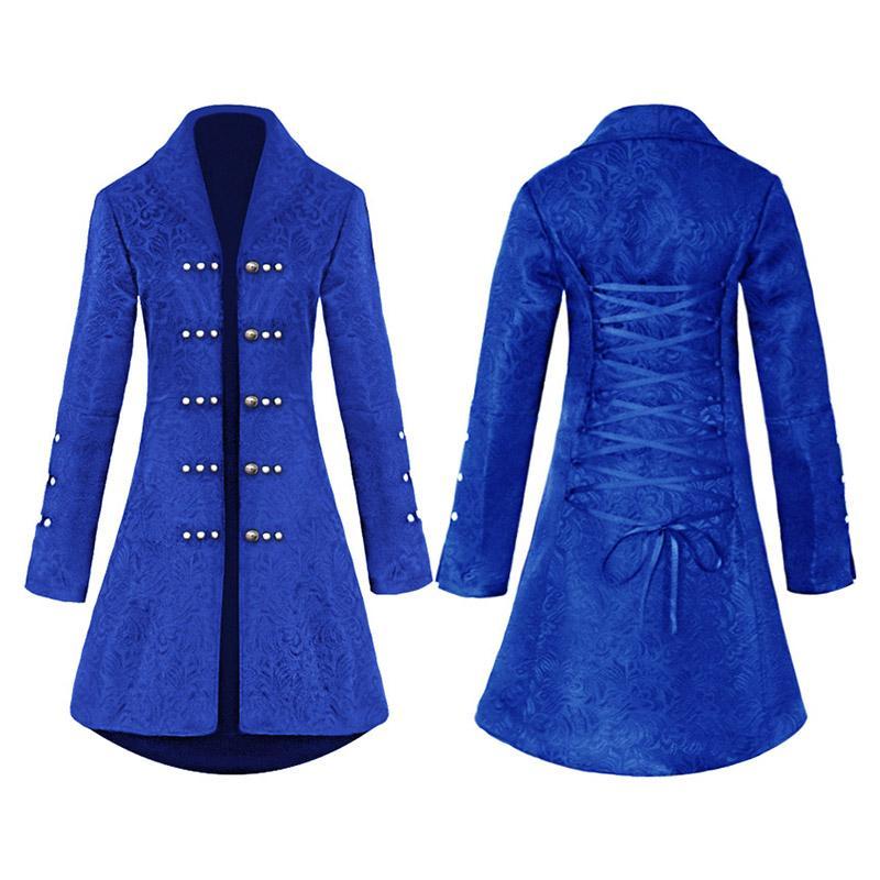 Giacca medievale Pulsante Maglia a manica lunga blu decorato Retro punk gotico vittoriano cappotti Lace Up Corset Tops Outerwear