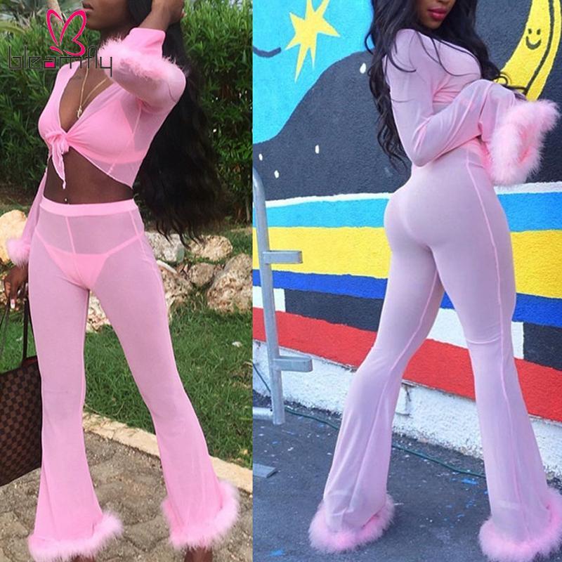 Sexy Rose Mesh Survêtement pour les femmes Sweat Suit deux pièces ensemble femmes solide dentelle haut Crop Top et évier Pantalon Party Beach tenues
