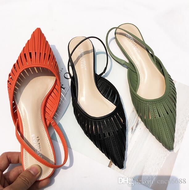 Diseñador de las mujeres a estrenar sandalias planas Volver Correa punta estrecha resbalón de la señora del verano Seaside Holiday sandalias