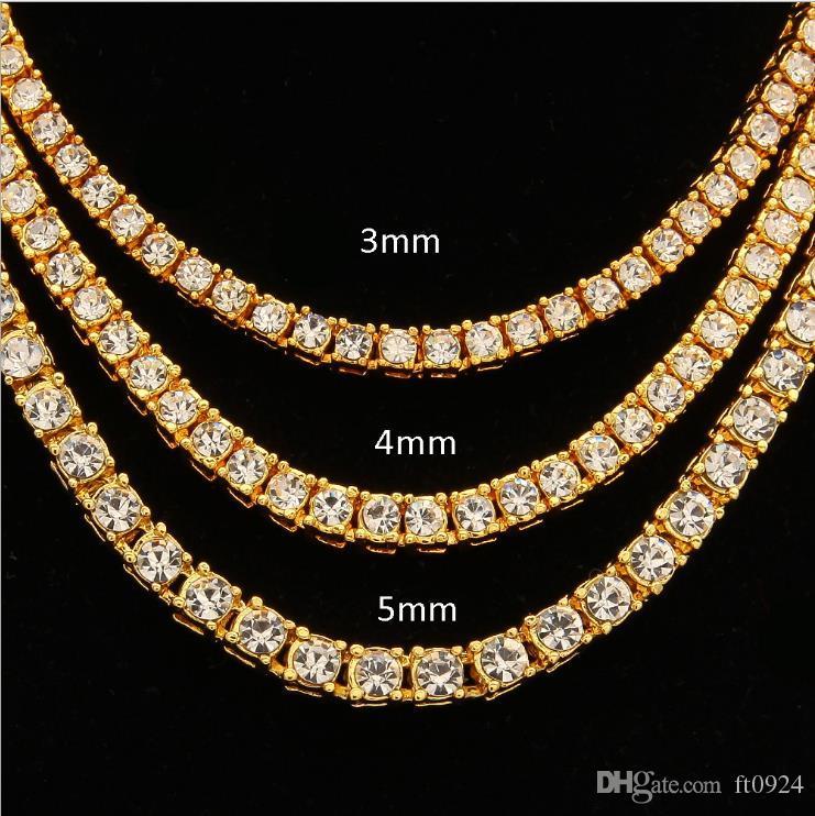 Explosiva moda europea y americana atractiva hip-hop 4 mm aleación agua taladro una fila de collares Oro Plata Oro rosa multi-específico