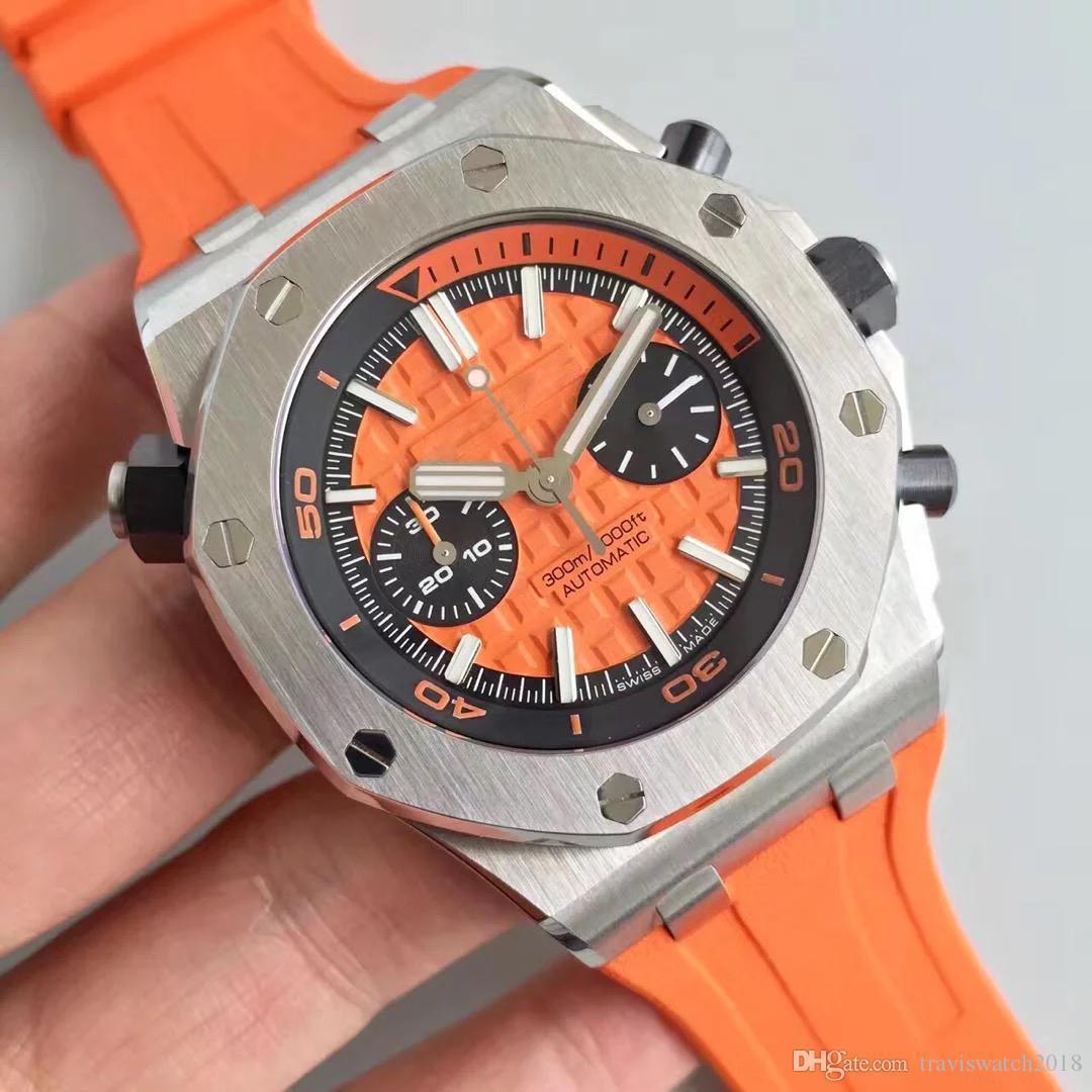 hommes de luxe de New Mens Watch bracelet en caoutchouc Royal Oak automatique mécanique importé 316 Boîtier en acier délicat transparent montre M03
