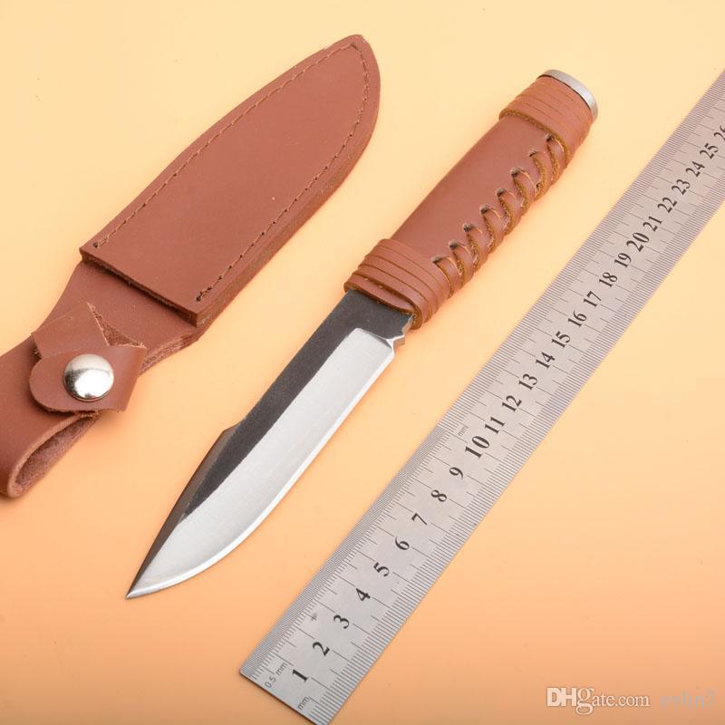 Быстрая доставка открытый выживания прямой охотничий нож из высокоуглеродистой стали атласное лезвие полный тан кожаные ручки ножи с кожаной оболочкой