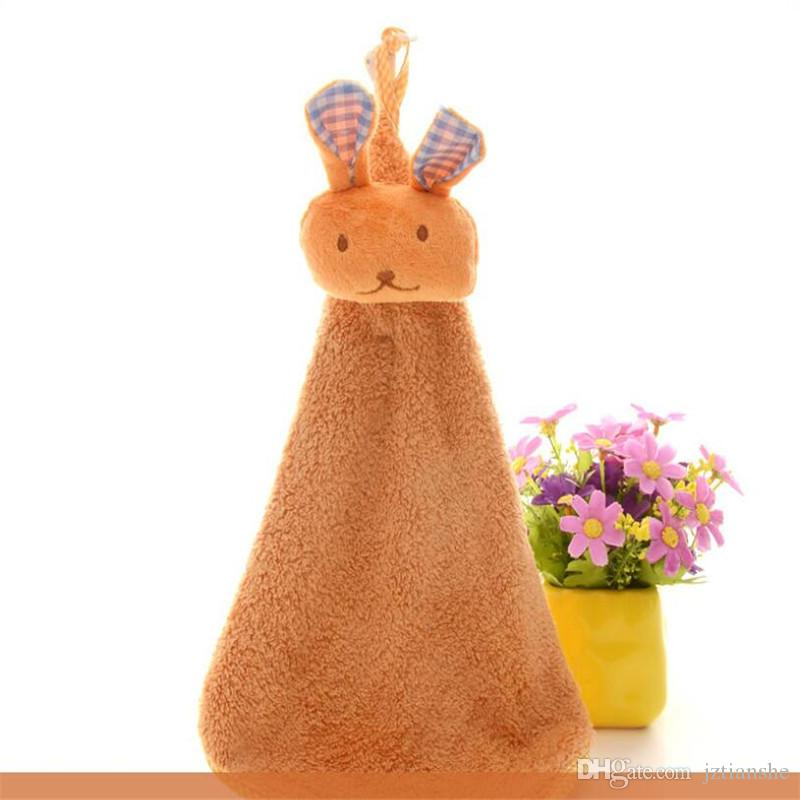 Lovely Rabbit Towel Coral Wool Cute Cartoon Hanging Towel Hang Type Children Thick Water Absorption Custom Towel