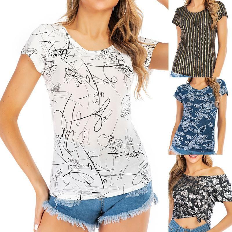 Ligne imprimer slim t-shirt décontracté manches courtes manches rondes familles nouveaux tees été femmes