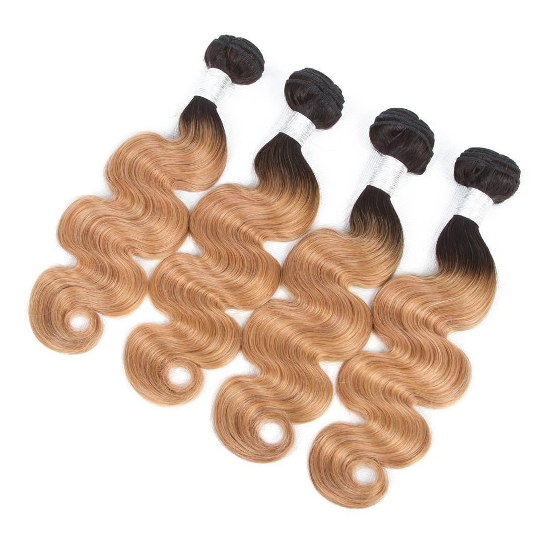 2 Tone Ombre cuerpo peruana pelo de la onda de la armadura de Bundles 1B / 27 Remy del pelo humano Extensiones para no 3 o 4 lotes de extensiones del cabello humano teje Ombre