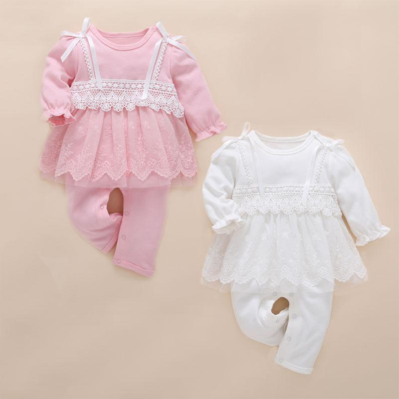 Bebek kız giysileri bebek tulum sevimli pembe dantel tulum bebek recien nacido roupas infantis menina yürüyor romper