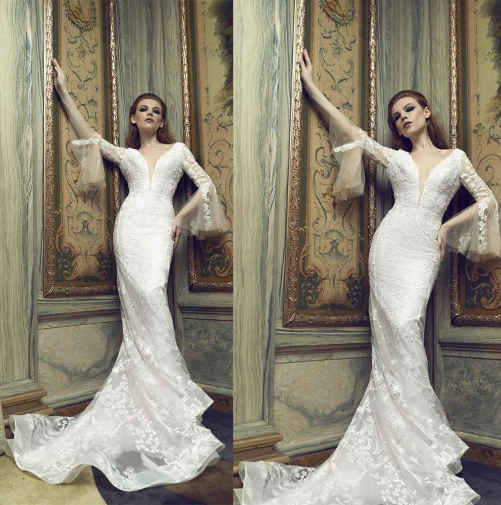Sexy Mermaid Wedding Dresses Illusion V Neck Long Sleeve Appliqued Lace Bridal Gowns Sweep Train Wedding Dress robes de mariée