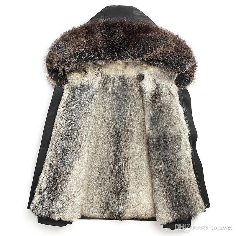 فاخر وولف معطف فرو سترة الفراء ريال الرجال في الهواء الطلق سنو الستر مقنع الشتاء ملابس خارجية معطف سماكة الحارة الأزياء الأبيض الأحمر الأسود