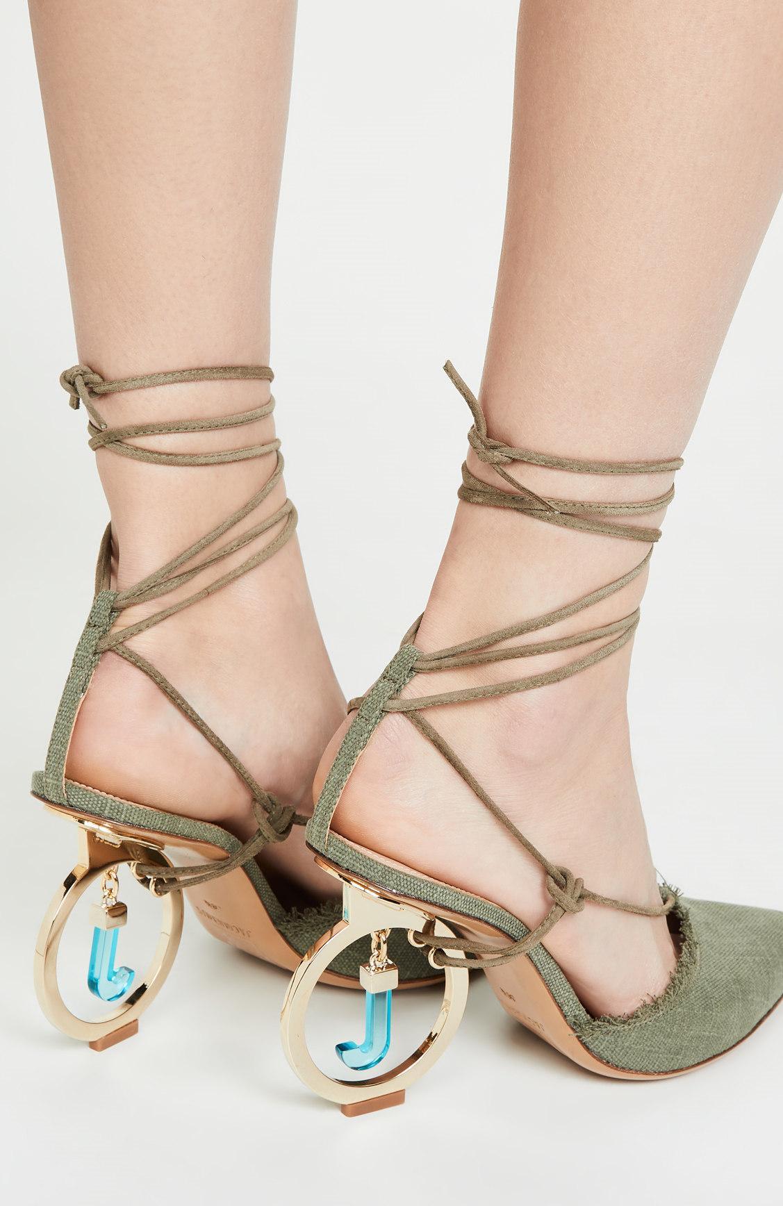 Luz verde lona superior mulheres Sandálias Sapato de bico fino com tira no tornozelo sapatos caros Chic Pendant J Fretwork estranhas Heels Shoes Mulher Marca