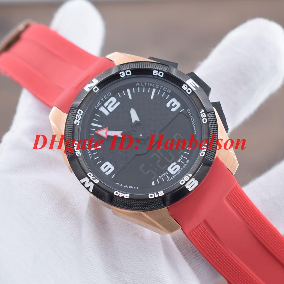 Sıcak satış Spor erkekler İzle İkili zaman dilimi ekran Kuvars elektronik hareketi Kronometre Gül altın vaka Kırmızı kauçuk kayış T091 Saatı