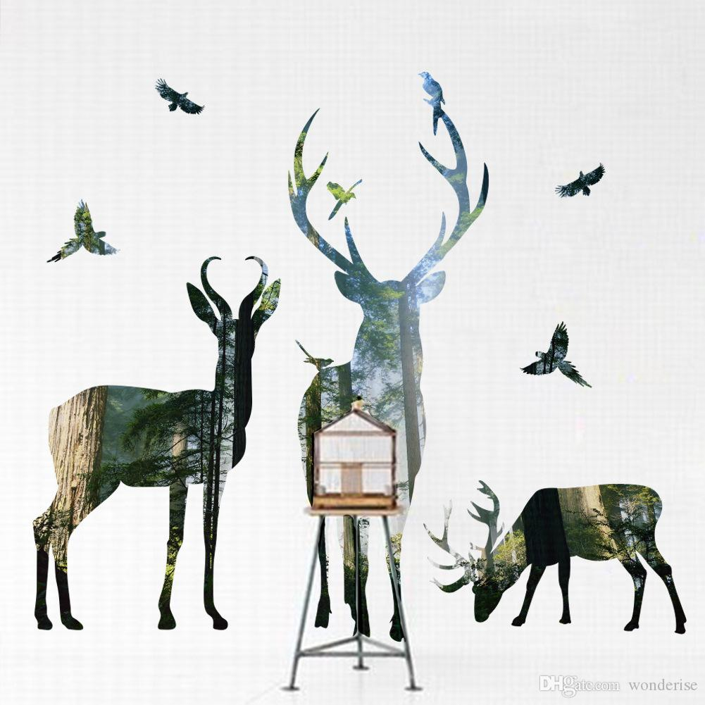 Forest Animal Deer Elk Bird Art Wall Sticker Woods Tree Wall Stickers Decal For Bedroom Living Room Home Decoration