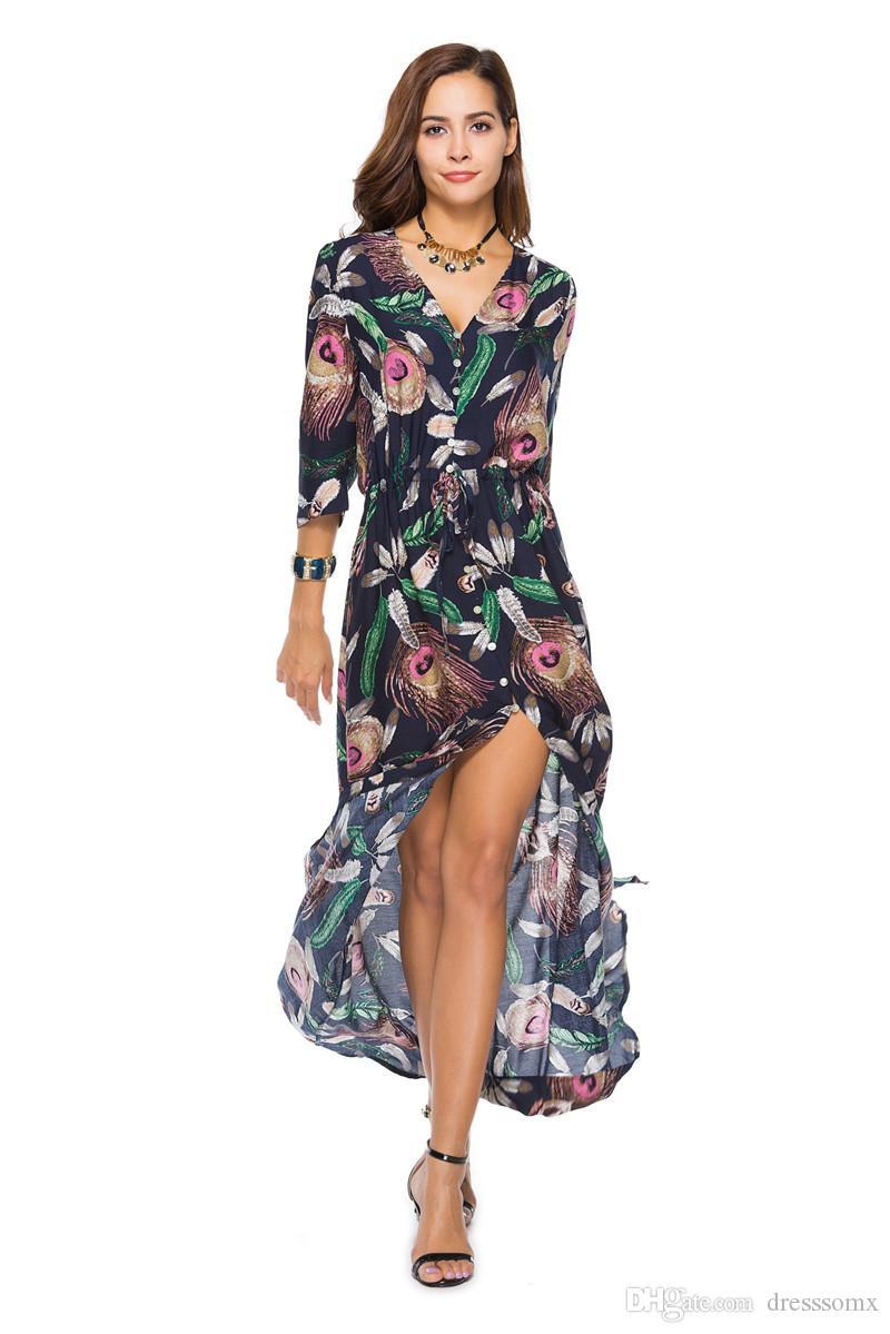 Compre Vestidos Largos De Verano Vestidos De Mujer Primavera Y Verano En Europa Y América Vestido De Playa 2019 Nueva Moda Para Mujer Ropa Para