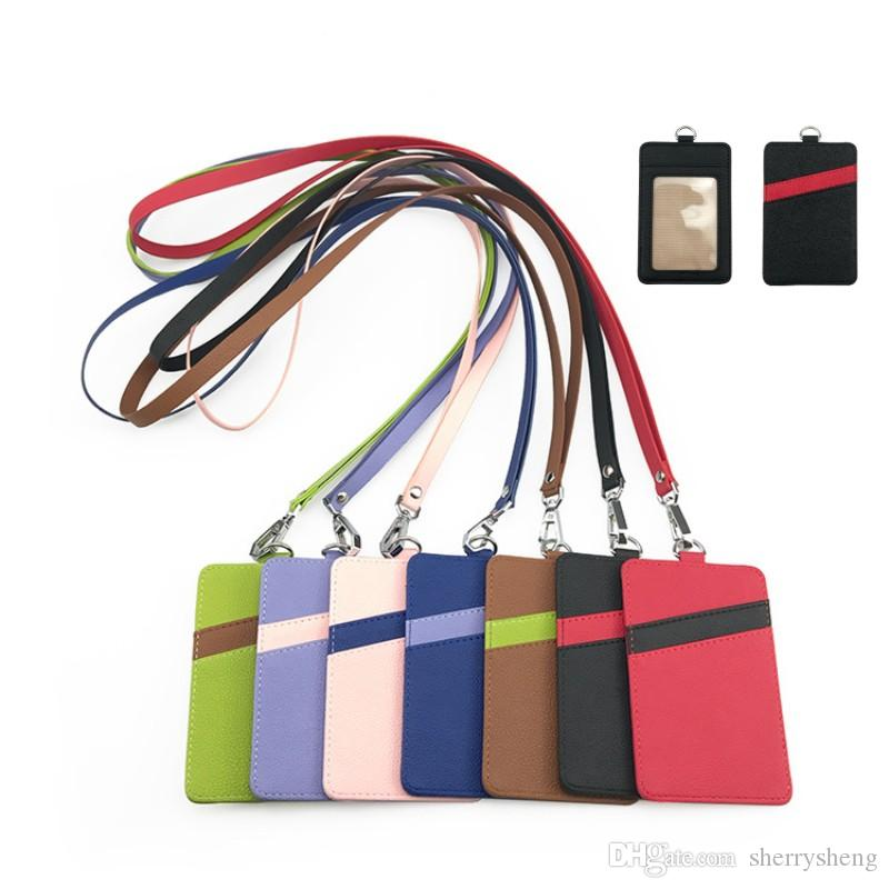 PU leather card holder ID card case with strap bus credit Bank Card ID holder lanyard