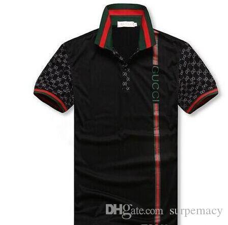 NUEVA manera de G G nueva colocación de verano de la solapa de los hombres del bordado de manga corta POLO casual de las camisetas de los hombres del polo de la camisa G2