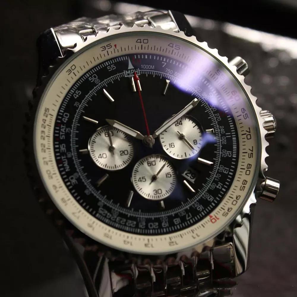 montres de luxe de haute qualité MONTBRILLANT quartz chronographe 46MM cadran noir bracelet en acier argent 316L saphir mens bracelet d'origine montre de sport