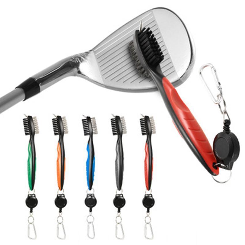 키 체인 휴대용 브러쉬 도구 나일론 와이어 강모 청소기 미니 듀얼 골프 클럽 브러시 라인 다기능 키트 ZZA925 우편 번호