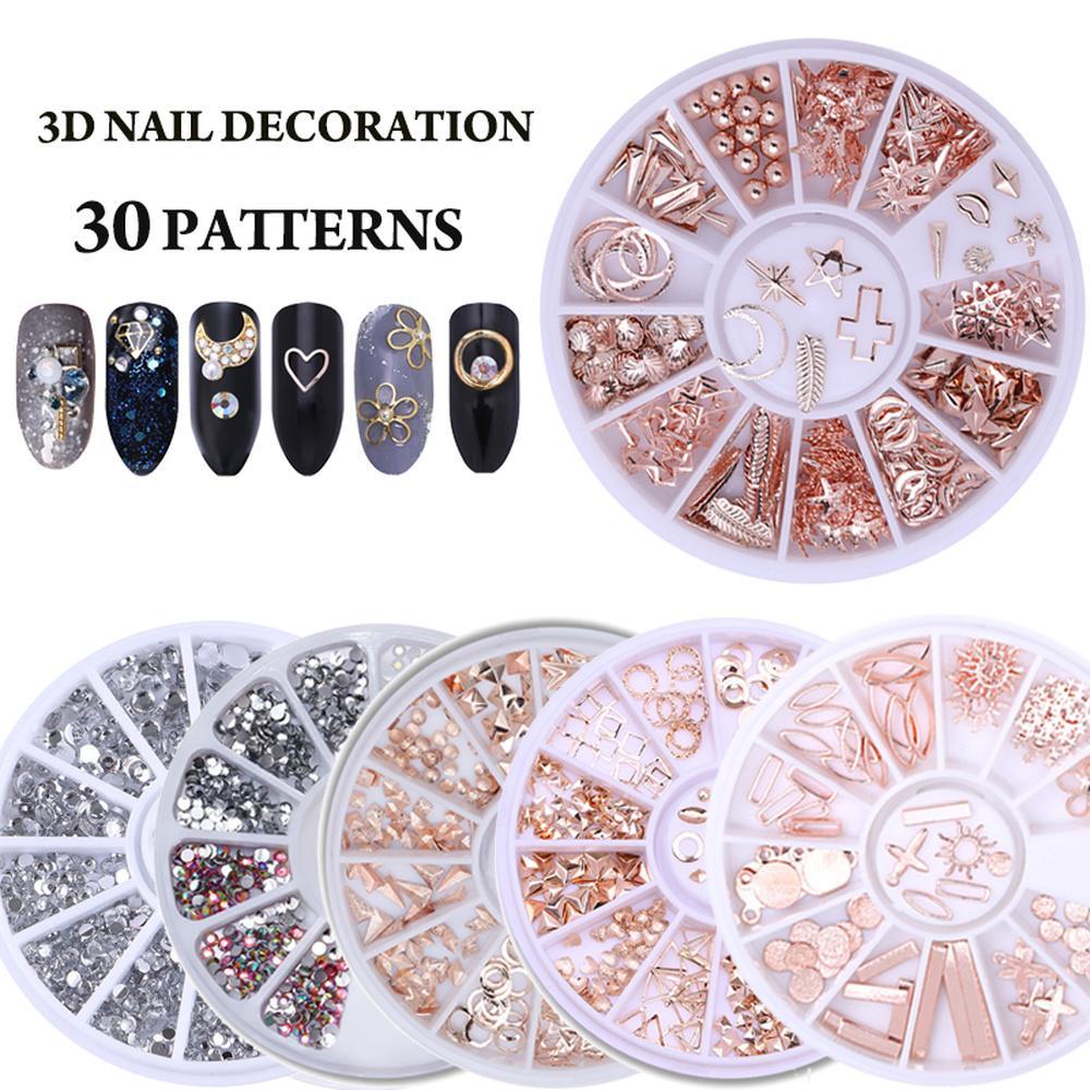 Nail Art Stones Caso redondo Rhinestone Granos irregulares Manicura para clavos Arte Decoraciones Cristales Clavos Accesorios de arte