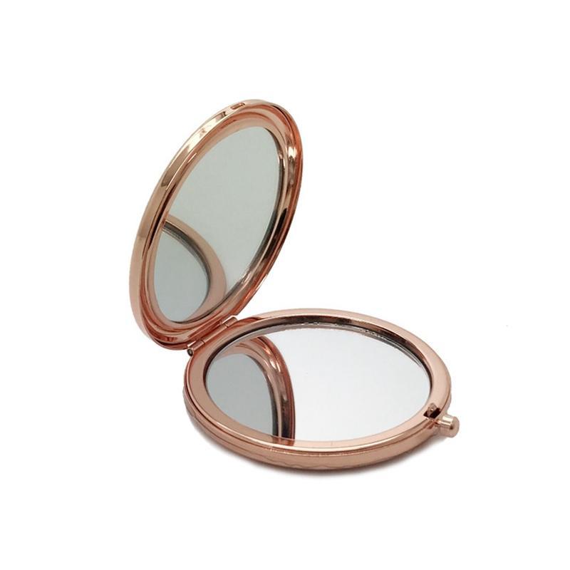 Doppio lato tasca tasca tascabile specchio metallo argento oro rosa oro cosmetico specchio pieghevole specchio ingrandimento strumento di bellezza HHA219