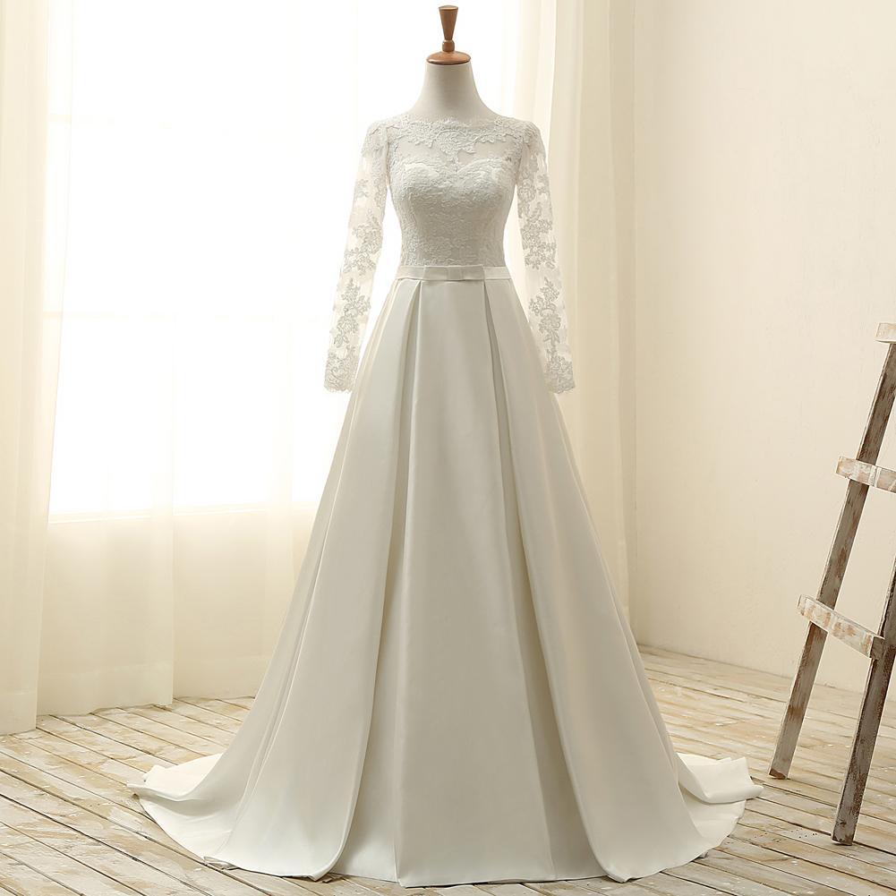 Acontecimientos de la boda de marfil elegante de satén de la cucharada de las mangas apliques una línea de vestidos de novia boda vestidos del tamaño de los vestidos de encargo del partido 2-18 D8W016