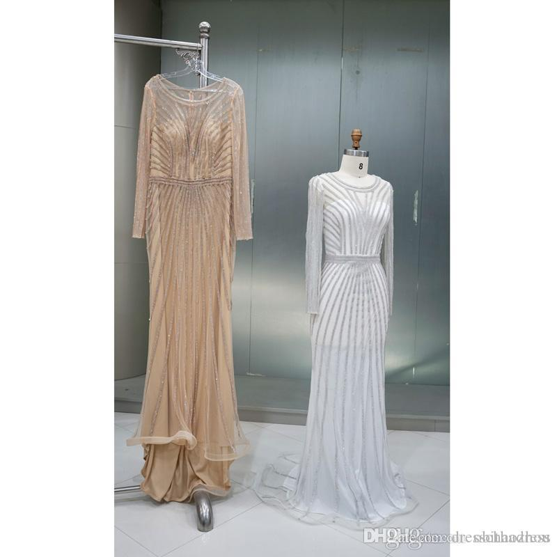 Elegant Evening Formal Dresses Shiny Gold Chain Thin Net Small Round Neck Mopping Long-sleeved Prom Dresses Celebrity Dress