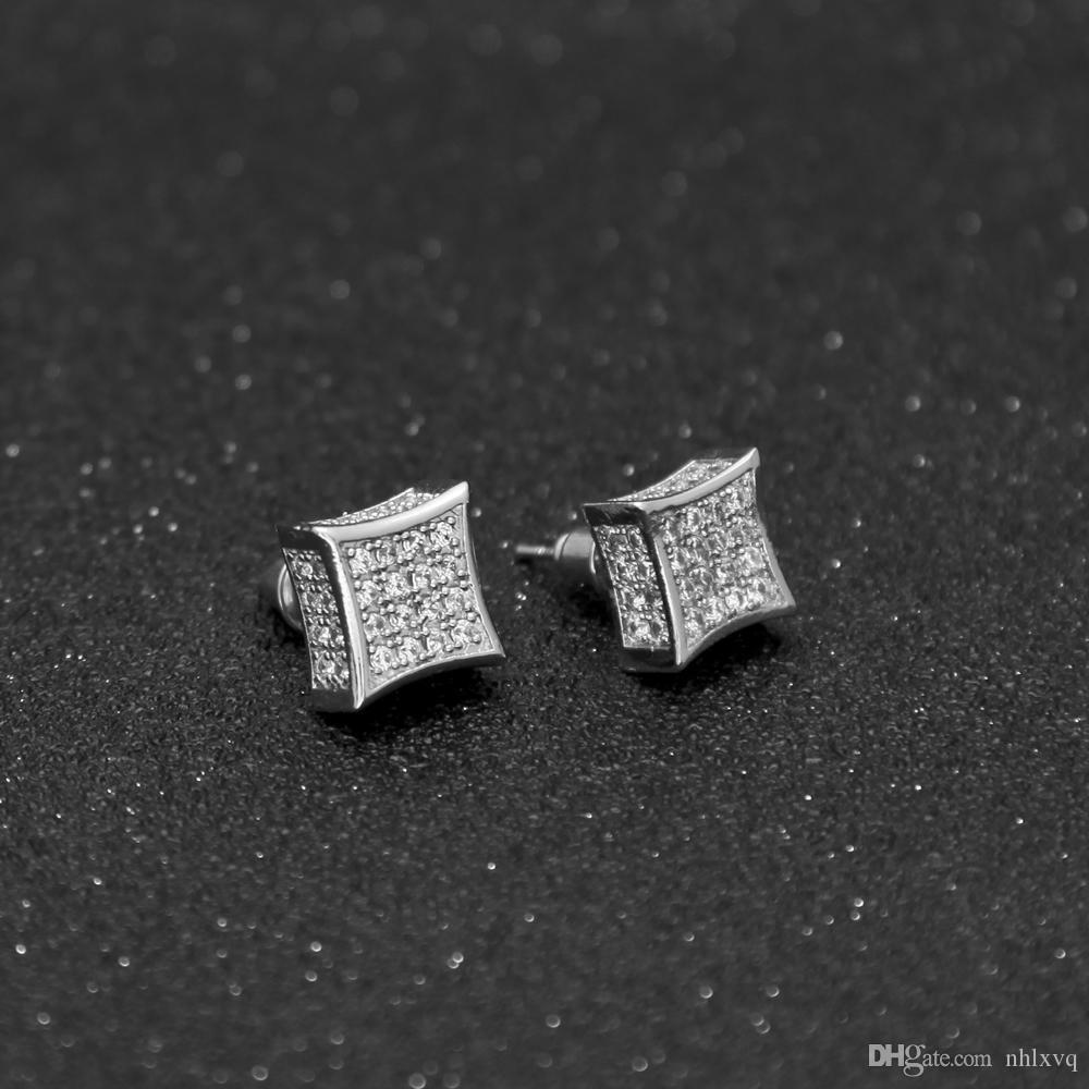 2017/18 2017/18 Boucles D'oreilles De Luxe Plein Cristal Zircone CZ Dormeuses À La Mode Top Qualité Or Argent Couleur 12mm * 12mm Hommes Femmes Punk Brincos