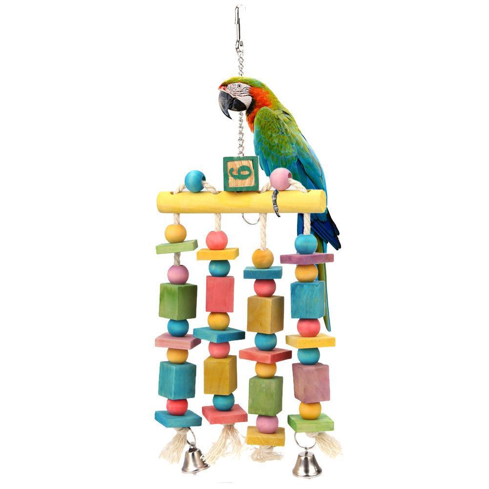 Giocattoli colorati Hang The Ding Bell Swing Mastica Gabbia Parrot Stand Bird Articoli