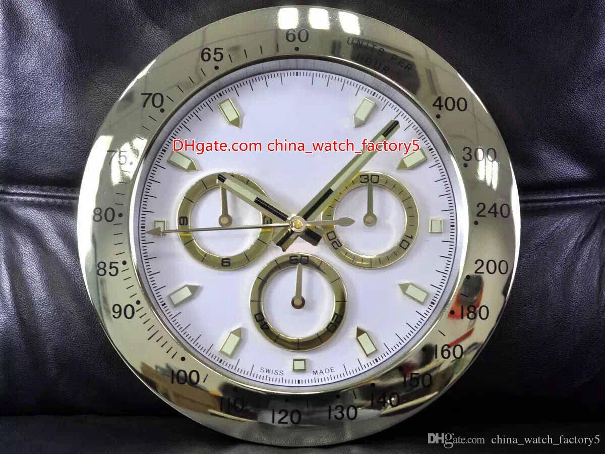 10 스타일 고품질 시계 벽시계 34cm x 5cm 2kg 스테인레스 스틸 쿼츠 전자 블루 발광 Cosmograph 116508 시계 시계