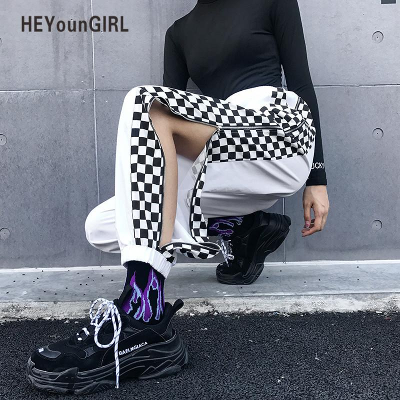 Heyoungirl Patchwork Checkerboard Harem Pants Pantalones cargo de cintura alta a cuadros Capri Streetwear Harajuku White Ladies pantalones Y19070301