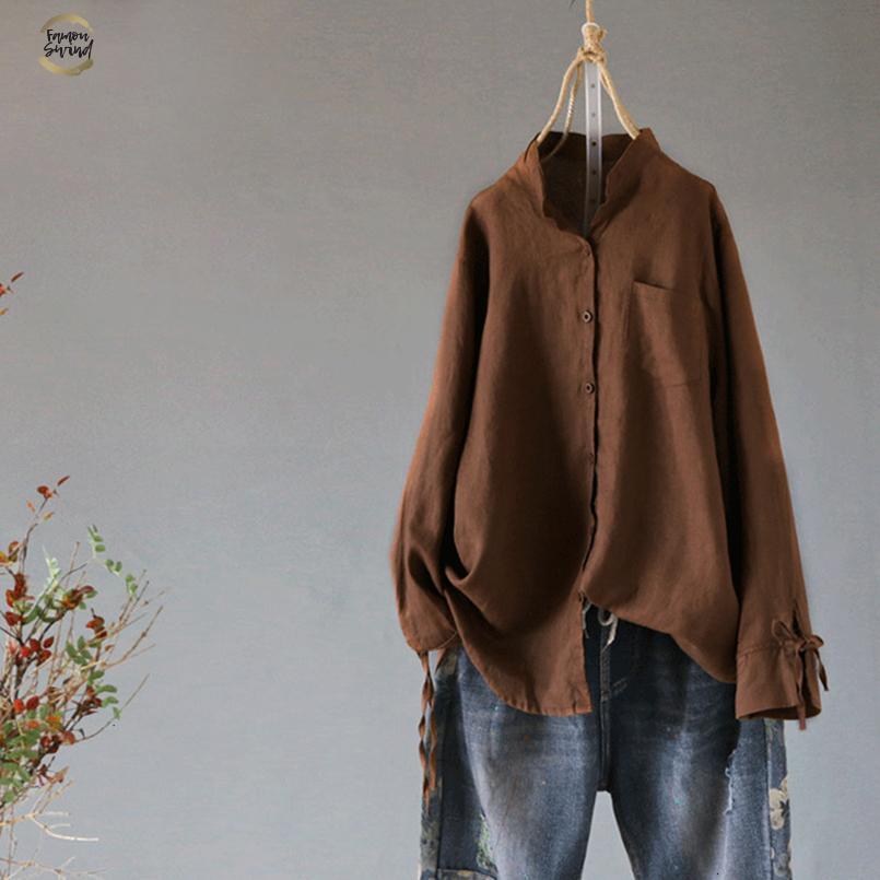 Fique Collar Mulheres Cotton linho Blusa Primavera Fique Collar manga comprida botões da camisa Casual Bow Tie Top Femme Túnica Blusas S 5XL