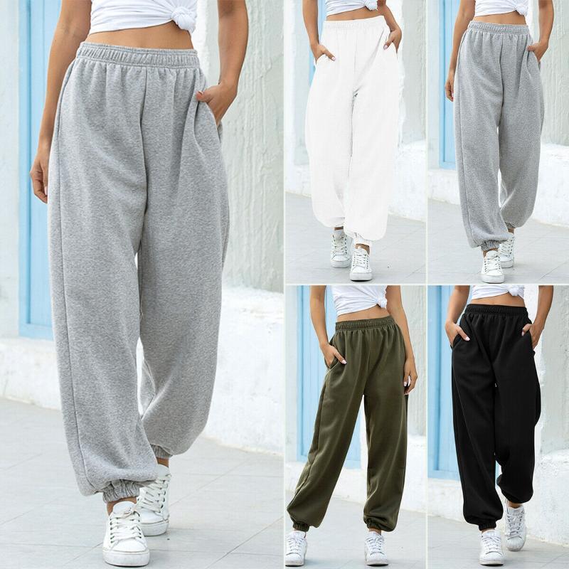 Pantaloni Pantaloni felpa Jogger Donna sportiva signore pantaloni della tuta pantaloni allentati