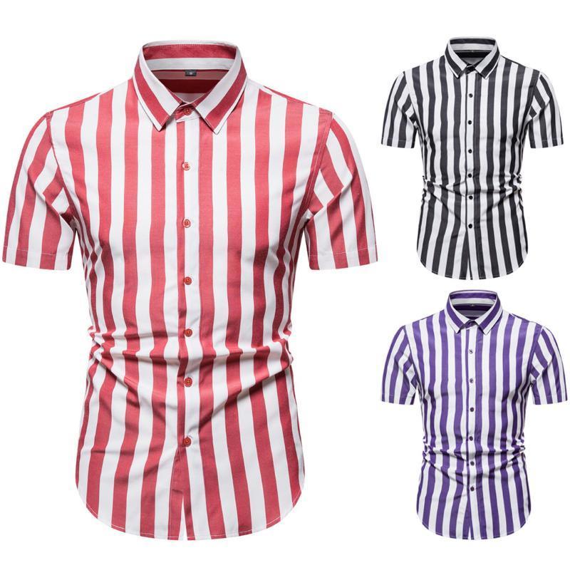Shirts 2020 Summer's New Large Size Short Sleeve Shirt Stripe Slim Casual Single Breasted Men's European Size Shirt