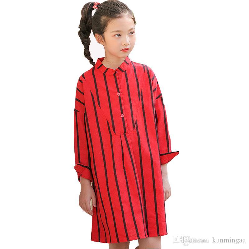 Mädchen langärmelige Baumwollhemdkleider Frühjahr neue gestreifte Hemdkinder gerade Kleid Kinder, die beiläufige Kleider großer Mädchen kleiden