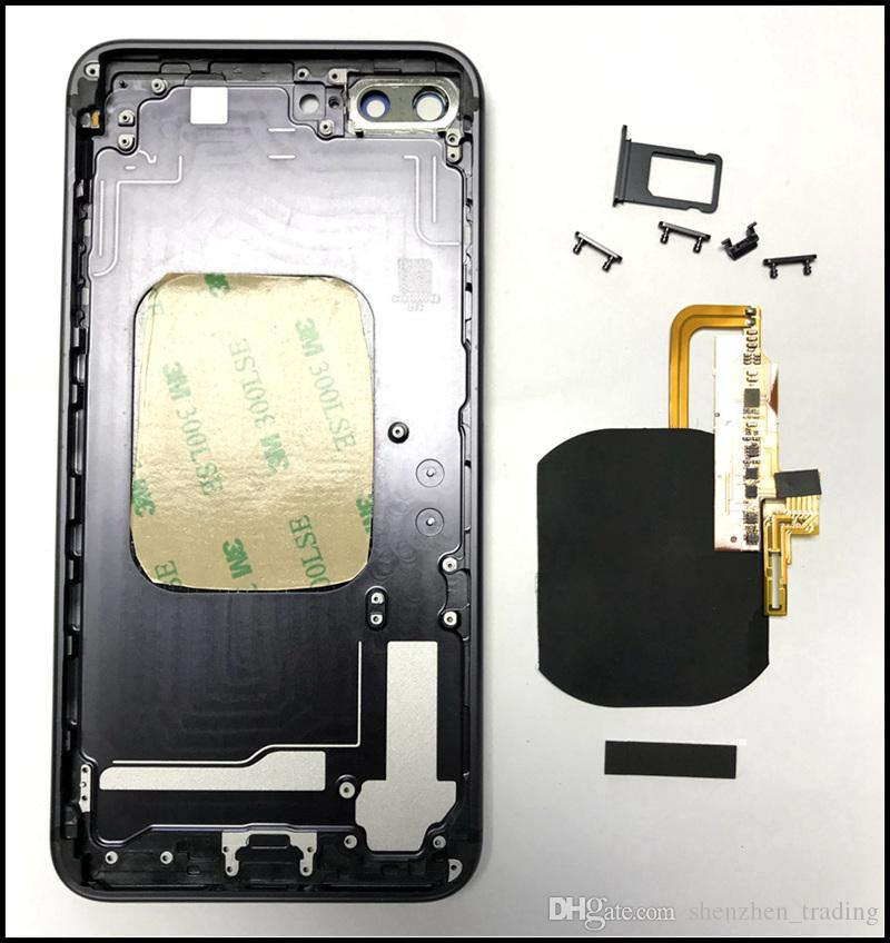 For iPhone 8 Style Glass Battery Door with Cutout Built in Wireless Charger Receiver Flex for iPhone 6G 6P 6S 6SP 7G 7Plus