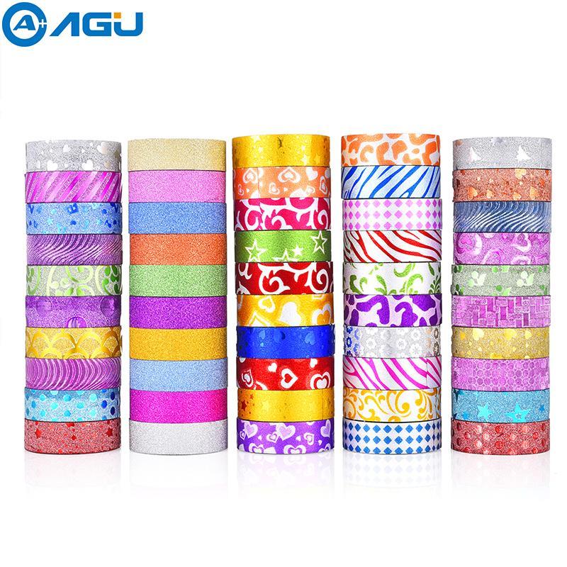 Aagu 50pcs Glitter Washi Tape Set 10 Soild Colors And 40 Rolls Random Colors Adhesive Tape Decorative Paper Tape For Diy Making T8190627
