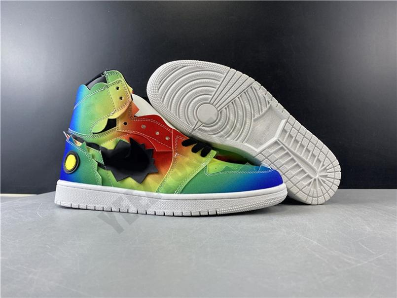 2020 1 1S فلاش قوس قزح التدرج Jumpman مصمم عالية أحذية كرة السلة مع مربع OG أصيل الجديدة 1 الرجال رياضي احذية DC1786-125