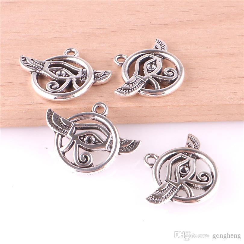 23467 20PCS argent plaqué bijoux Oeil d'Horus Mode Charms Pendentifs Bracelets bricolage Fit Collier Boucles d'oreilles