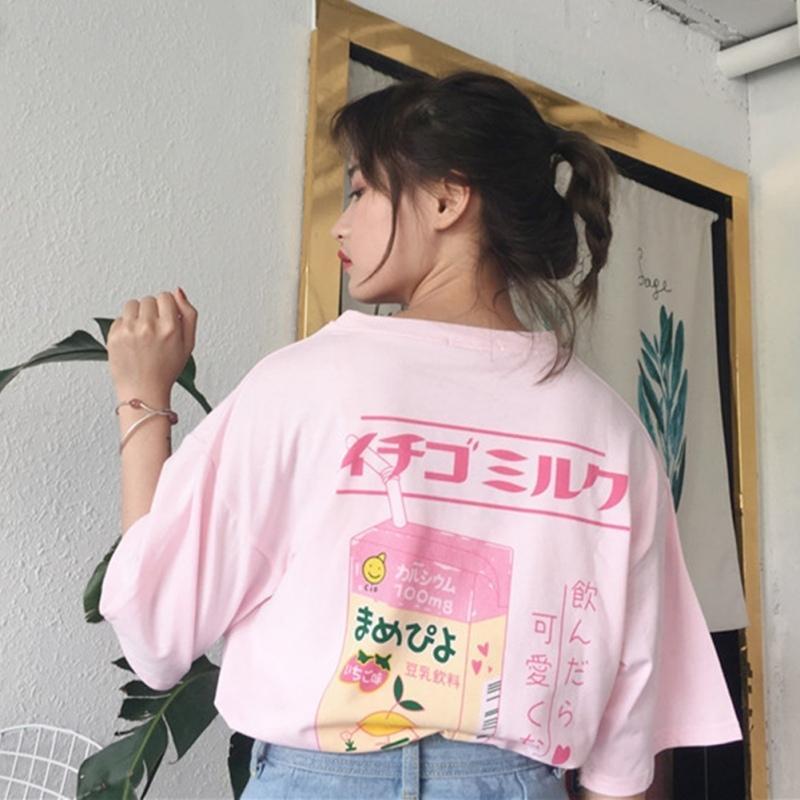 Coréia Coréia Moda Feminina Roupas Carta de Verão Imprimir Casual Preppy Rosa Solta Camiseta Tops