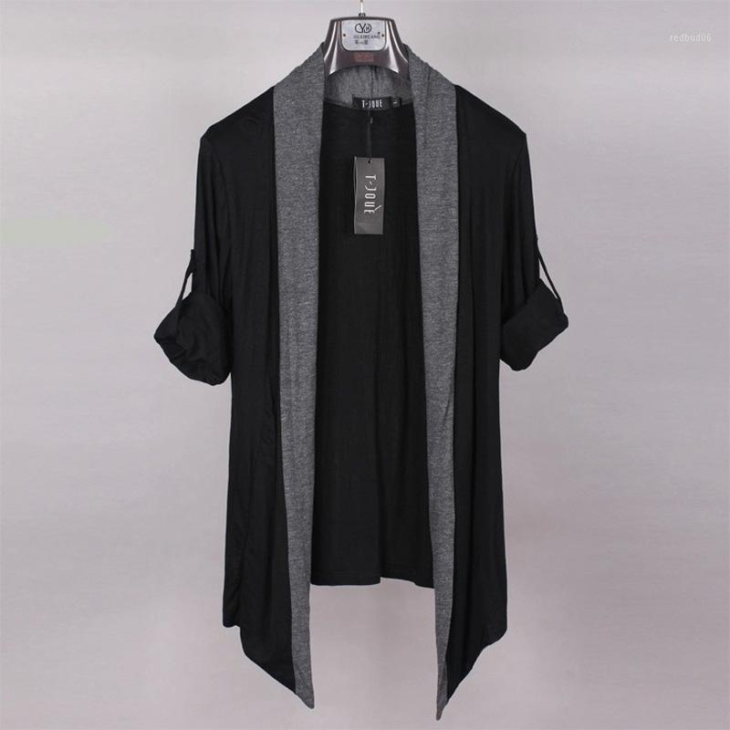 도매-3 색상 아방가르드는 가장자리 Mens 디자이너 숄 칼라 블랙 그레이 긴 소매 재킷은 카디건이 남성의 케이프타 얇은 니트 트렌치 Coat1