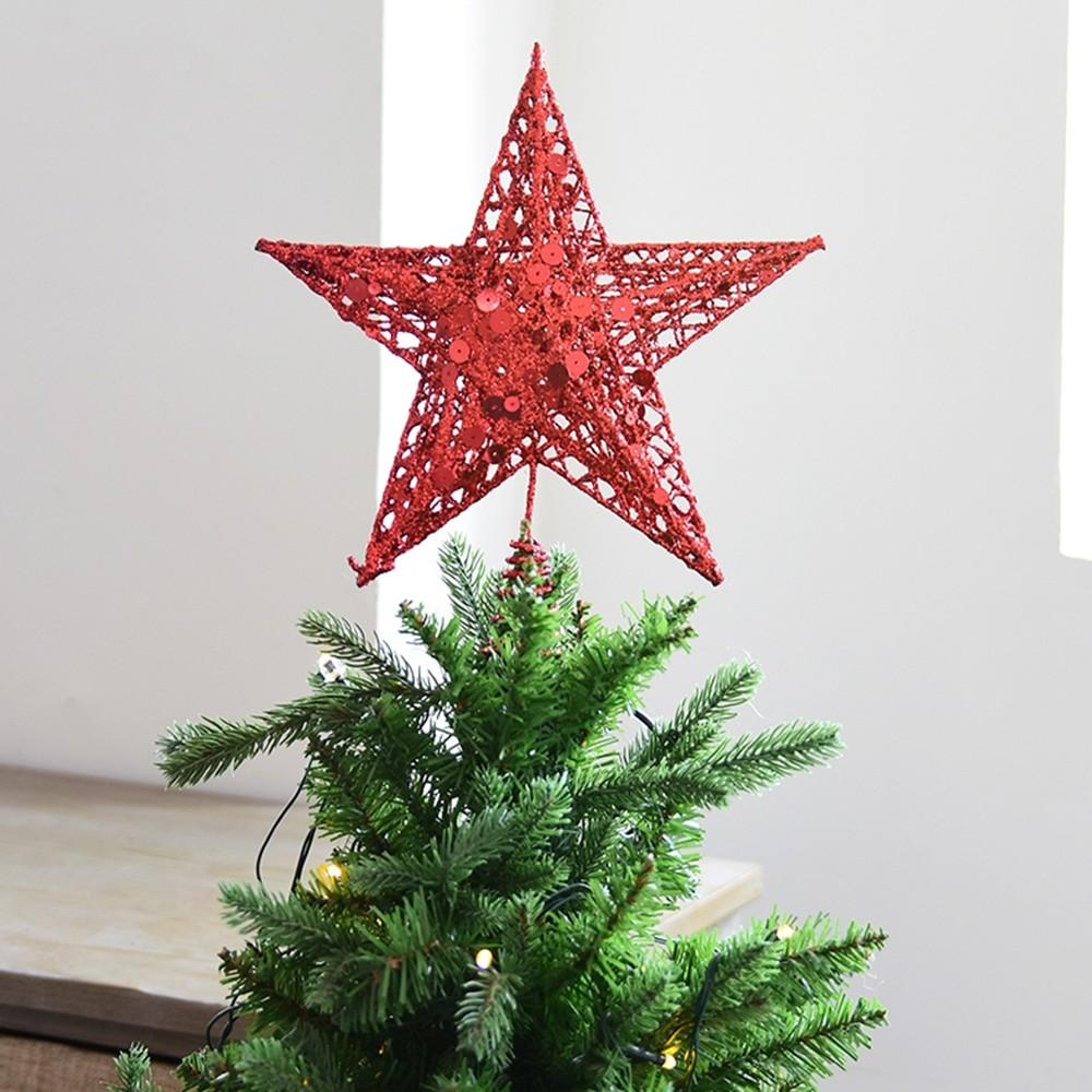 Fashion Christmas Tree Topper Treetops Xmas Ornament Shiny Festival Gold Silver Red Five Pointed Star Tree Topstar Decorations Outdoor Christmas Decor