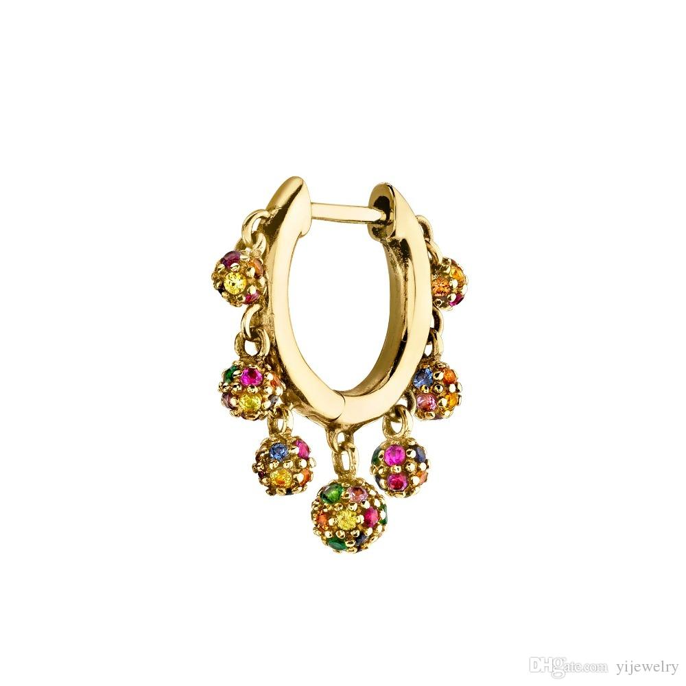 красочные диско-шарм шарм элегантность 2019 новые женские украшения Маленькие обручи плавающий шар подвески модные серьги золото