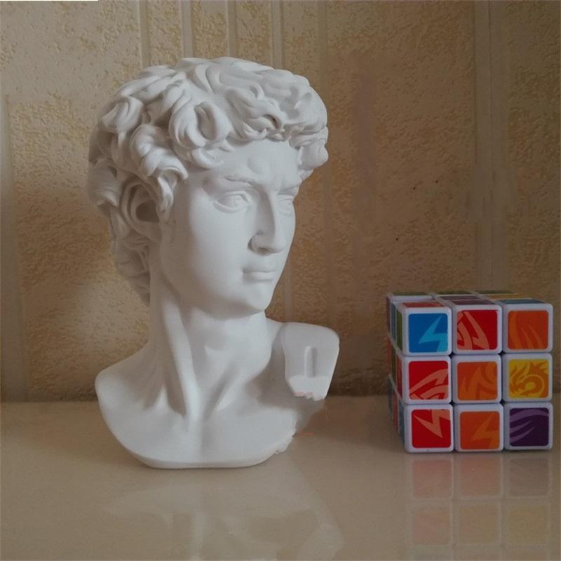 Imitation Gypse David Statue 15cm Mini Résine Artisanat Effigie Haute Qualité Tête Portrait Blanc Ameublement 9 3hc C1