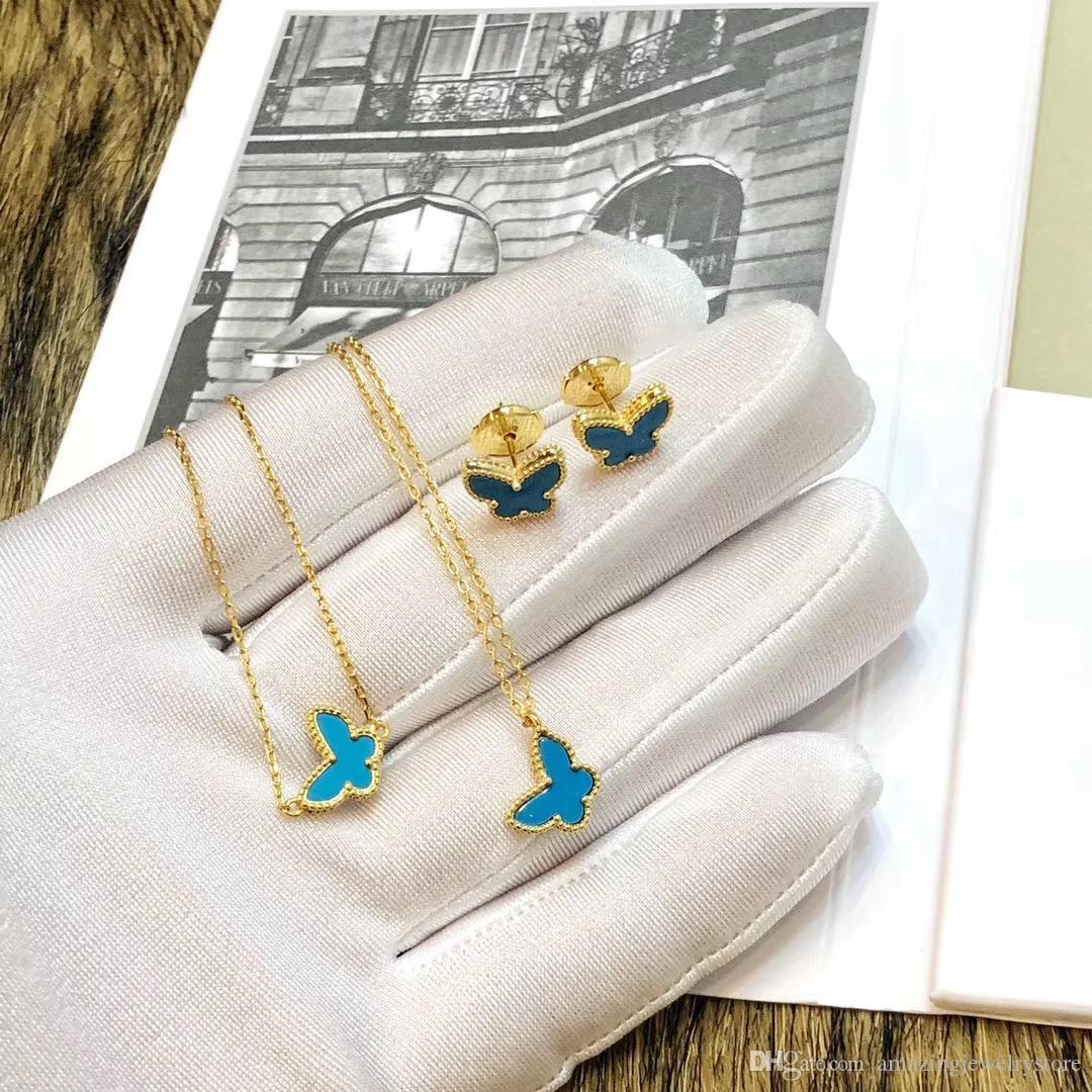 2019 Neue Ankunft Top vorzüglicher Bolzen Schmetterling mit der Natur Shell Ohrring und blauer Farbe Frauen Bolzen-Ohrringe arbeiten Einfaches freies Verschiffen gi