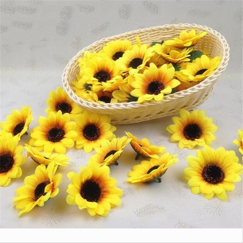 "100pcs lot 2.8"" Sunflower Buds Artificial Silk Flower Heads For Wedding Home Bridal Bouquet Decoration"