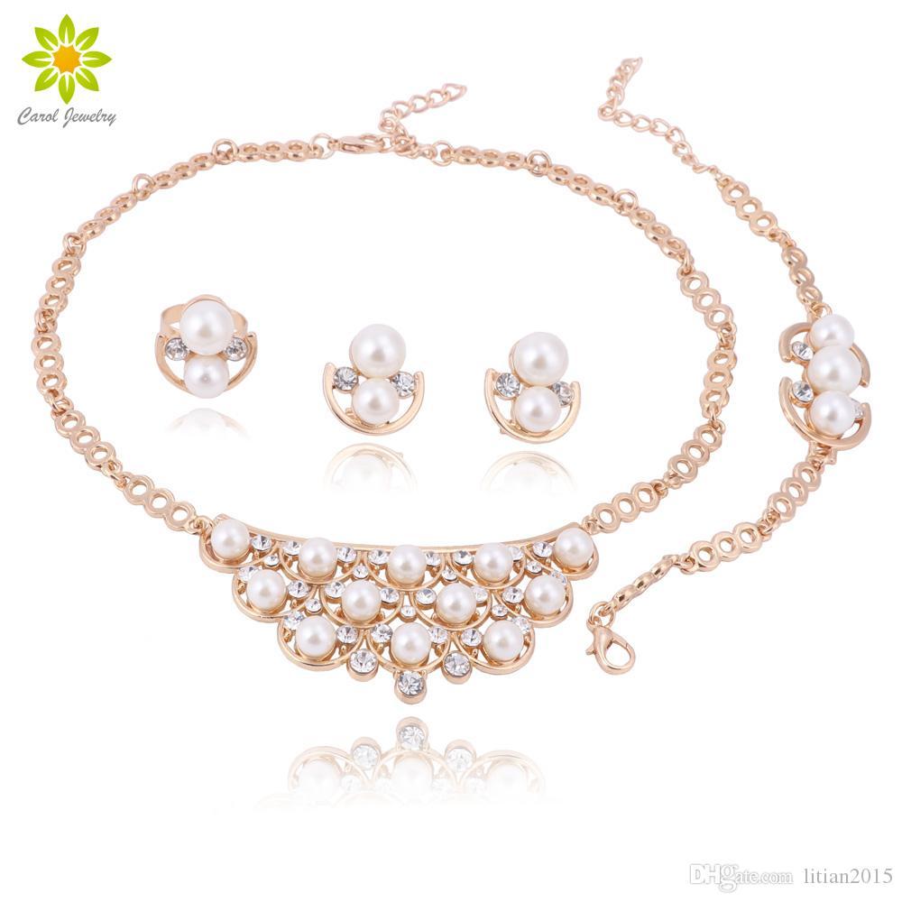 Colar Partido jóias conjunto Wedding Jóia de cristal nupcial Set cor do ouro Imitação Pérola Rhinestone de Mulheres direto
