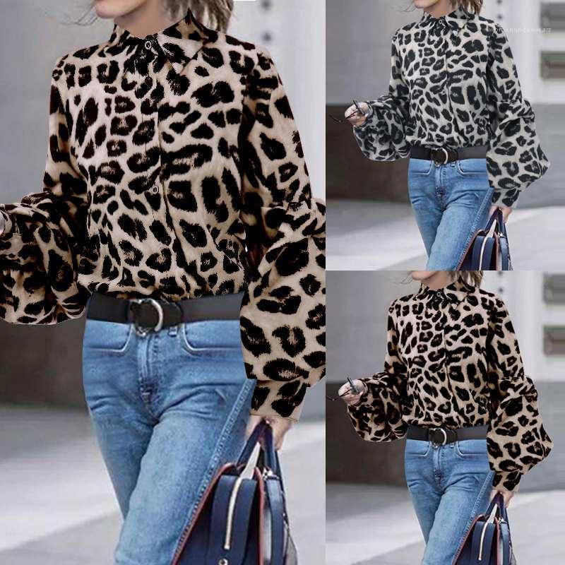 Manga comprida lapela Neck Botão Outono Primavera camisas casuais Styles OL moda Womens vestuário Leopard Impresso Mulher designer camisas