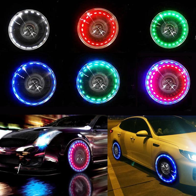 Boulon de roue de voiture Pneu Valve air Capve de bouchon avec capteur de mouvement Colorfeux Pneus LED Pneus Éclairage Buse Gaz Caps Moto