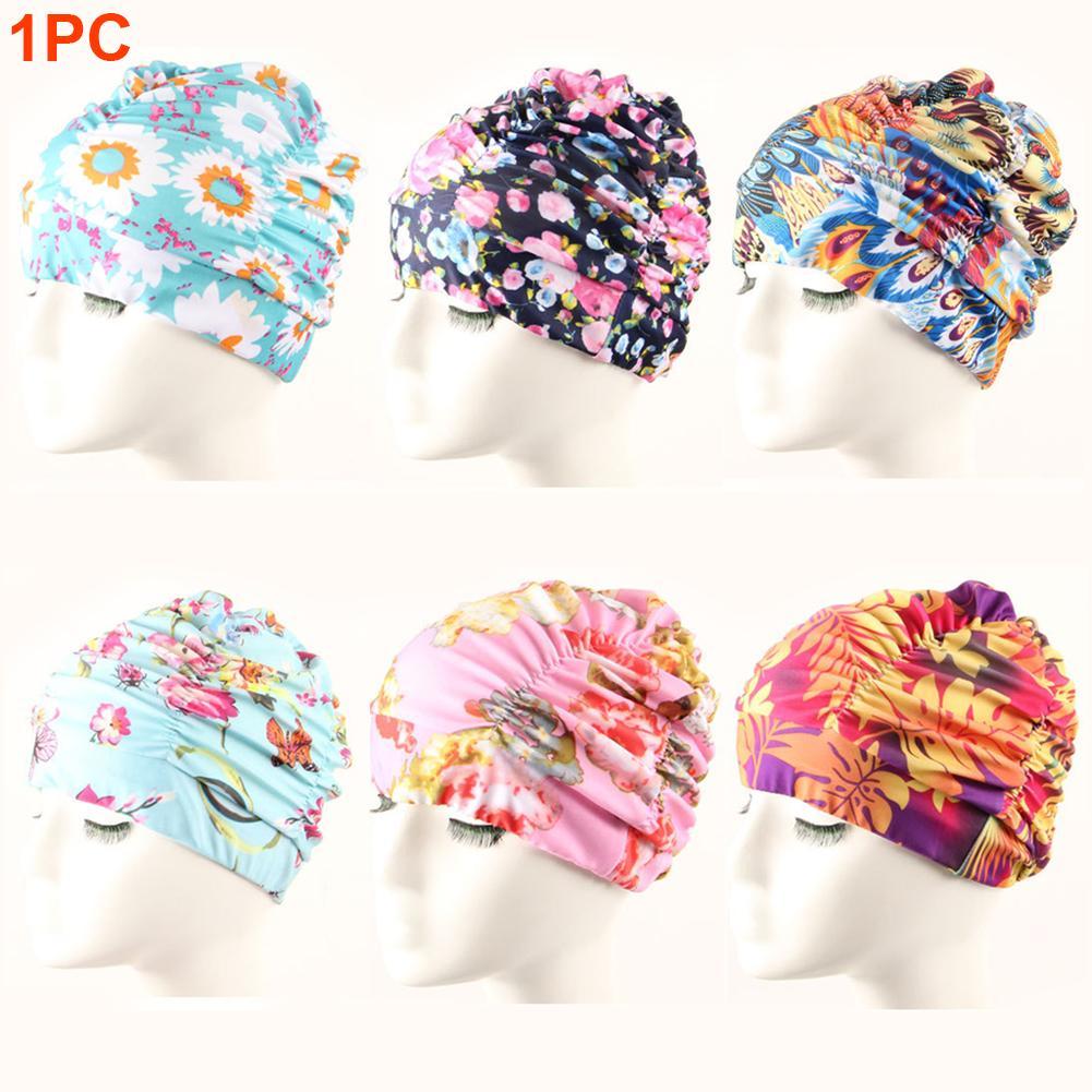 Женщины пляж Hat Stretch бассейн Мода нейлон бассейн Cap Длинные волосы плиссе Упругих Цветочные Печатное Купание для взрослых